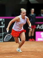 Arena Loire,  Trélazé,  France, 16 April, 2016, Semifinal FedCup, France-Netherlands, Second match: Richel Hogenkamp (NED)<br /> Photo: Henk Koster/Tennisimages