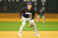 Third baseman Chris Lashmet #27 of the Northwestern Wildcats on defense against the Wake Forest Demon Deacons at Gene Hooks Field on February 26, 2011 in Winston-Salem, North Carolina.  Photo by Brian Westerholt / Four Seam Images