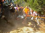 Torneo del toro de Vega, en Tordesillas Valladolid. 13 septiembre 2011. Cada año en Tordesillas un toro es lanceado por<br /> personas hasta que muere desangrado en la fiesta del Toro<br /> de la Vega. Es la tradición más cruel que se comete en nuestro<br /> país hacia un animal. Por ello, Tordesillas se ha convertido en<br /> el símbolo de la repulsa hacia el maltrato animal.<br /> <br /> Foto:(c) PACMA