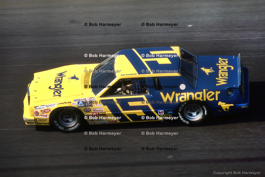 DAYTONA BEACH, FL - FEBRUARY 14: Dale Earnhardt drives Bud Moore's Wrangler Ford during the Daytona 500 on February 14, 1982, at the Daytona International Speedway in Daytona Beach, Florida.