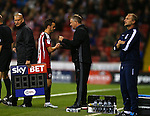 Stefan Scougall of Sheffield Utd and Chris Wilder manager of Sheffield Utd during the League One match at Bramall Lane Stadium, Sheffield. Picture date: September 27th, 2016. Pic Simon Bellis/Sportimage