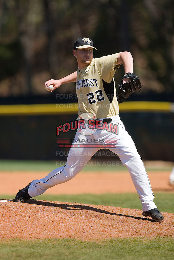 Starting pitcher Phil Negus #22 of the Wake Forest Demon Deacons in action versus the Duke Blue Devils at Jack Coombs Field March 29, 2009 in Durham, North Carolina. (Photo by Brian Westerholt / Four Seam Images)