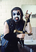 MERCYFUL FATE - King Diamond - backstage at the Heavy Sound Festival in Poperinge Belgium - 10 Jun 1984.  Photo credit: Edouard Setton/Dalle/IconicPix ** UK ONLY **