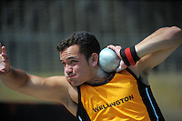 Wellington's Ben Power competes in the men's shot put on day three of the 2015 National Track and Field Championships at Newtown Park, Wellington, New Zealand on Sunday, 8 March 2015. Photo: Dave Lintott / lintottphoto.co.nz