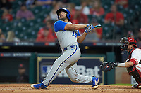 Alex Rodriguez (19) of the Kentucky Wildcats follows through on his swing against the against the Houston Cougars in game two of the 2018 Shriners Hospitals for Children College Classic at Minute Maid Park on March 2, 2018 in Houston, Texas.  The Wildcats defeated the Cougars 14-2 in 7 innings.   (Brian Westerholt/Four Seam Images)