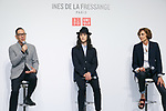 (L to R) Uniqlo Creative Director Naoki Takizawa, fashion model Louis Kurihara, and French model and fashion designer Ines de la Fressange, speak during a media event for Uniqlo x Ines de La Fressange AW17 collection, on September 5, 2017, Tokyo, Japan. Japanese casual clothing chain Uniqlo and French fashion icon Ines de la Fressange are collaborating with a Fall/Winter 2017 collection which is being sold in selected Uniqlo stores from September 1st. (Photo by Rodrigo Reyes Marin/AFLO)