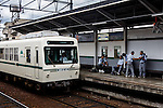 Kyoto, June 27 2013 - train arriving at Shugakuin station, near Shugakuin Imperial villa