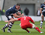 Eifion Lewis-Roberts of Sale Sharks crashes into Tommy ODonnell of Munster - European Rugby Champions Cup - Sale Sharks vs Munster -  AJ Bell Stadium - Salford- England - 18th October 2014  - Picture Simon Bellis/Sportimage
