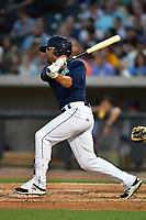 Outfielder Desmond Lindsay (2) of the Columbia Fireflies hits in a game against the Lexington Legends on Friday, April 21, 2017, at Spirit Communications Park in Columbia, South Carolina. Columbia won, 5-0. (Tom Priddy/Four Seam Images)