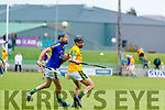 James Godley Kilmoyley in action against Michael Conway Lixnaw in the Kerry County Senior Hurling championship Final at Austin Stack Park on Sunday.