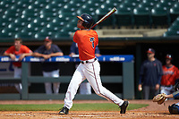 Adam Haseley (7) of the Virginia Cavaliers follows through on his swing against the Duke Blue Devils in Game Seven of the 2017 ACC Baseball Championship at Louisville Slugger Field on May 25, 2017 in Louisville, Kentucky. The Blue Devils defeated the Cavaliers 4-3. (Brian Westerholt/Four Seam Images)