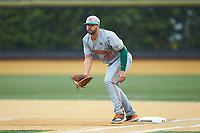 Miami Hurricanes first baseman Alex Toral (30) on defense against the Wake Forest Demon Deacons at David F. Couch Ballpark on May 11, 2019 in  Winston-Salem, North Carolina. The Hurricanes defeated the Demon Deacons 8-4. (Brian Westerholt/Four Seam Images)