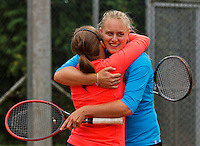 August 17, 2014, Netherlands, Raalte, TV Ramele, Tennis, National Championships, NRTK, Womans Final :  Nicole Thijssen/Mandy Wagemakers (R)(NED)  at match point and cerebrate<br /> Photo: Tennisimages/Henk Koster
