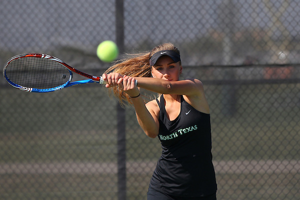 Denton, TX - SEPTEMBER 19: North Texas Mean Green tennis team member Kseniya Bardabush in action at Waranch Tennis Center on the campus of University of North Texas in Denton on September 19, 2012 in Denton, Texas. (Photo by Rick Yeatts)