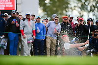 Daniel Berger (USA) hits from the sand on 16 during round 3 Four-Ball of the 2017 President's Cup, Liberty National Golf Club, Jersey City, New Jersey, USA. 9/30/2017.<br /> Picture: Golffile | Ken Murray<br /> <br /> All photo usage must carry mandatory copyright credit (&copy; Golffile | Ken Murray)
