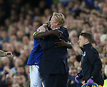 Romelu Lukaku of Everton celebrates with Ronald Koeman manager of Everton during the Premier League match at Goodison Park Stadium, Liverpool. Picture date: September 30th, 2016. Pic Simon Bellis/Sportimage