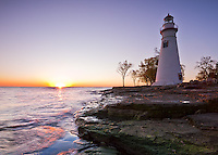 Marblehead Lighthouse State Park, OH<br /> Marblehead Lighthouse (1819) at sunrise on Lake Erie, oldest lighthouse in continuous operatoin on the Great Lakes