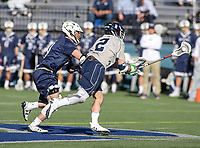 Washington, DC - February 27, 2018: Georgetown Hoyas Peter Tagliaferri (2) wins the faceoff during game between Mount St. Mary's and Georgetown at  Cooper Field in Washington, DC.   (Photo by Elliott Brown/Media Images International)