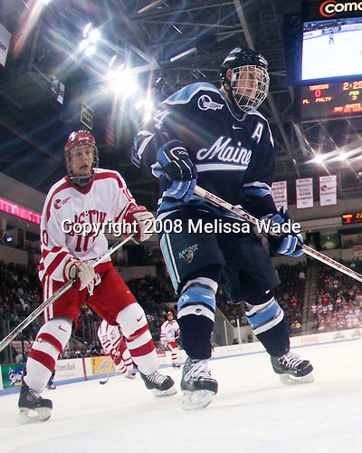 Chris Higgins (BU - 10), Bret Tyler (Maine - 44) - The Boston University Terriers defeated the University of Maine Black Bears 1-0 (OT) on Saturday, February 16, 2008 at Agganis Arena in Boston, Massachusetts.