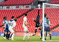 Wycombe Wanderers' Ryan Allsop can't quite reach a corner kick <br /> <br /> Photographer Andrew Kearns/CameraSport<br /> <br /> Sky Bet League One Play Off Final - Oxford United v Wycombe Wanderers - Monday July 13th 2020 - Wembley Stadium - London<br /> <br /> World Copyright © 2020 CameraSport. All rights reserved. 43 Linden Ave. Countesthorpe. Leicester. England. LE8 5PG - Tel: +44 (0) 116 277 4147 - admin@camerasport.com - www.camerasport.com