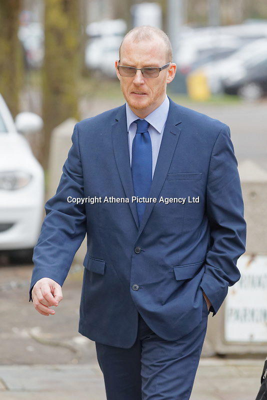 """Pictured: Kevin Thomas arrives at Cardiff Crown Court, Wales, UK. Monday 18 February 2019<br /> Re: Former headteacher Kevin Thomas, who punched and kicked his wife after accusing her of having an affair, is due to be sentenced at Cardiff Crown Court, Wales, UK.<br /> Thomas, 47, attacked his wife and damaged her phone after a """"date night"""" playing bingo and drinking.<br /> Thomas and now-estranged wife Donna Thomas had gone to Castle Bingo in Canton, Cardiff on November 24 and then the Castle pub and Brewhouse bar in the city centre, Cardiff Magistrates' Court heard.<br /> The former Glan-Yr-Afon Primary School in Cardiff headteacher, became """"paranoid"""" after seeing his wife of seven years speaking to his relative Gareth Lloyd."""