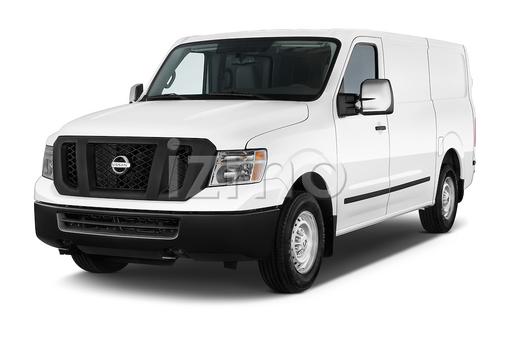 2015 Nissan NV Cargo 2500 Standard Roof S V6 Door Cargo Van Angular Front stock photos of front three quarter view