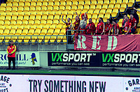 United fans celebrate during the A-League football match between Wellington Phoenix and Adelaide United at Westpac Stadium in Wellington, New Zealand on Saturday, 24 November 2018. Photo: Dave Lintott / lintottphoto.co.nz