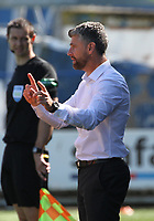 Motherwell Manager Stephen Robinson gives out instructions in a break in play in the SPFL Betfred League Cup group match between Queen of the South and Motherwell at Palmerston Park, Dumfries on 13.7.19.