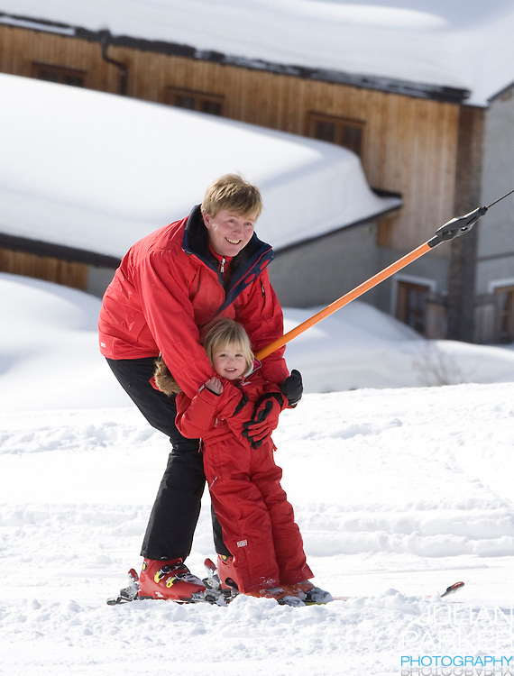 Crown Prince Willem Alexander of Holland with his Daughter, Princess Alexia, attend a Photocall with Members of The Dutch Royal Family during their Winter Ski Holiday in Lech Austria