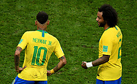 KAZAN - RUSIA, 06-07-2018: NEYMAR y MARCELO jugadores de Brasil lucen decepcionados después del partido de cuartos de final entre Brasil y Bélgica por la Copa Mundial de la FIFA Rusia 2018 jugado en el estadio Kazan Arena en Kazán, Rusia. / NEYMAR amd MARCELO players of Brazil look disappointed after the match between Brazil and Belgium of quarter final for the FIFA World Cup Russia 2018 played at Kazan Arena stadium in Kazan, Russia. Photo: VizzorImage / Julian Medina / Cont