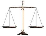 Bronze Balanced empty justice scales Conceptual photo-realistic 3D illustration Isolated silhouette on white background