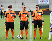 20170513 - MECHELEN , BELGIUM : Belgian referees Berengere Pierart , Hannelore Onsea and  Ella De Vries pictured during the final of Belgian cup 2017 , a womensoccer game between RSC Anderlecht and KAA Gent Ladies , in the AFAS stadion in Mechelen , saturday 13 th Mayl 2017 . PHOTO SPORTPIX.BE | BELGA |  DAVID CATRY