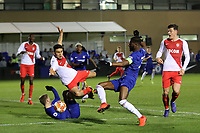 Joseph Colley of Chelsea stretches for the ball to create a goalscoring opportunity during Chelsea Under-19 vs AS Monaco Under-19, UEFA Youth League Football at the Cobham Training Ground on 19th February 2019