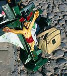 Jesus Christ crucifix figure with Aztec influence, Mexico
