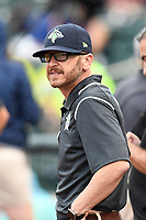Columbia Fireflies president John Katz watches the action at the South Atlantic League All-Star Game on Tuesday, June 20, 2017, at Spirit Communications Park in Columbia, South Carolina. The game was suspended due to rain after seven innings tied, 3-3. (Tom Priddy/Four Seam Images)