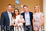 Baby Sophie Noonan with her parents Danny & Siun Noonan, Liselton and god parents David & Gesche Hegarty who was christened in Ballydonoghue Church by Canon Michael Ryan & Fr. John Lawlor on Sunday last and afterwards at the Listowel Arms Hotel.
