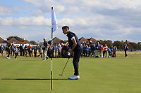 Conor Gough (GB&I) on the 1st green during Day 2 Singles at the Walker Cup, Royal Liverpool Golf CLub, Hoylake, Cheshire, England. 08/09/2019.<br /> Picture Thos Caffrey / Golffile.ie<br /> <br /> All photo usage must carry mandatory copyright credit (© Golffile | Thos Caffrey)