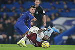 Aston Villa's Marvelous Nakamba is challenged by Chelsea's Mason Mount during the Premier League match at Stamford Bridge, London. Picture date: 4th December 2019. Picture credit should read: Paul Terry/Sportimage