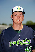 Vermont Lake Monsters pitcher A.J. Puk (45) poses for a photo before a game against the Auburn Doubledays on July 13, 2016 at Falcon Park in Auburn, New York.  Auburn defeated Vermont 8-4.  (Mike Janes/Four Seam Images)