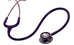 stethoscope on shadowless white background