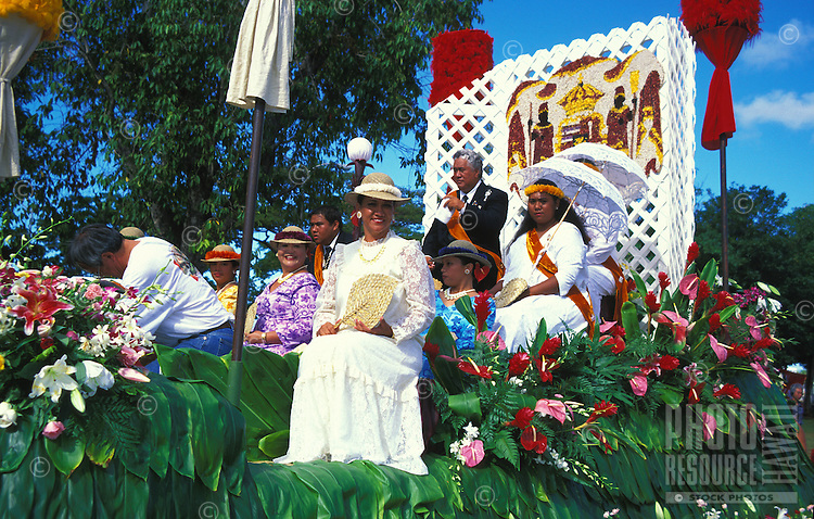 The royal court over the commencement of the annual aloha week parade. Parade goes from Ala Moana park to Kapiolani Park