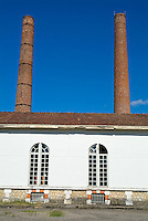 Factory with chimneys in Aquitaine, Bordeaux, France.