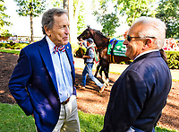STANTON, DE - JULY 15: Songbird #5 walks in the paddock as Fox Hill Farm owner Rick Porter and trainer Jerry Hollendorfer chat before winning the Delaware Handicap on Delaware Handicap Day on July 8, 2017 at Delaware Park Race Track in Stanton, Delaware. (Photo by Scott Serio/Eclipse Sportswire/Getty Images)