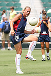 30 July 2006: Abby Wambach (USA) during pregame warmps. The United States Women's National Team defeated Canada 2-0 at SAS Stadium in Cary, North Carolina in an international friendly soccer match.