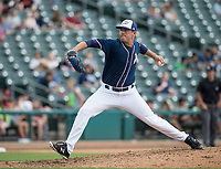 NWA Democrat-Gazette/BEN GOFF @NWABENGOFF<br /> Jake Kalish, Northwest Arkansas pitcher, enters the game in the 7th inning against Arkansas Wednesday, May 16, 2018, at Arvest Ballpark in Springdale.