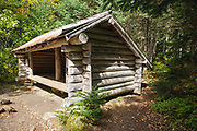Dry River Shelter #3 along the Dry River Trail in Cutt's Grant of the New Hampshire White Mountains. This shelter is located within the Presidential Range - Dry River Wilderness.