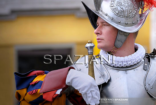 Pontifical Swiss Guard;Pope Benedict XVI at the end of the message 'Urbi et Orbi from the central balcony of the Basilica of St. Peter in the Vatican today, Easter April 24, 2011