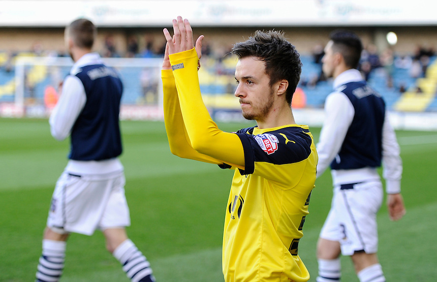 Fleetwood Town's Stefan Scougall salutes the fans<br /> <br /> Photographer Ashley Western/CameraSport<br /> <br /> Football - The Football League Sky Bet League One - Millwall v Fleetwood Town - Tuesday 19th April 2016 - The Den - London   <br /> <br /> &copy; CameraSport - 43 Linden Ave. Countesthorpe. Leicester. England. LE8 5PG - Tel: +44 (0) 116 277 4147 - admin@camerasport.com - www.camerasport.com