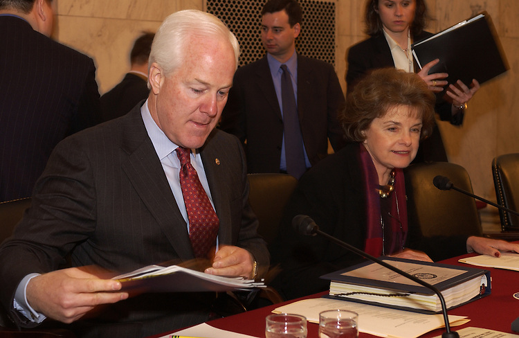 "Chairman John Cornyn, R-TX., and Dianne Feinstein, D-CA., before the start of the Senate Judiciary Committee Marriage Amendment Constitution Subcommittee hearing, ""A Proposed Constitutional Amendment to Preserve Traditional Marriage."""