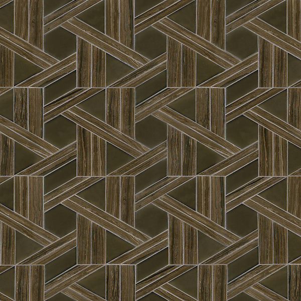 Hector, a waterjet stone and Serenity glass mosaic, shown in Bayard polished and Burnt Umber glass honed, is part of the Altimetry® Collection for New Ravenna.